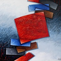 Composition with red square