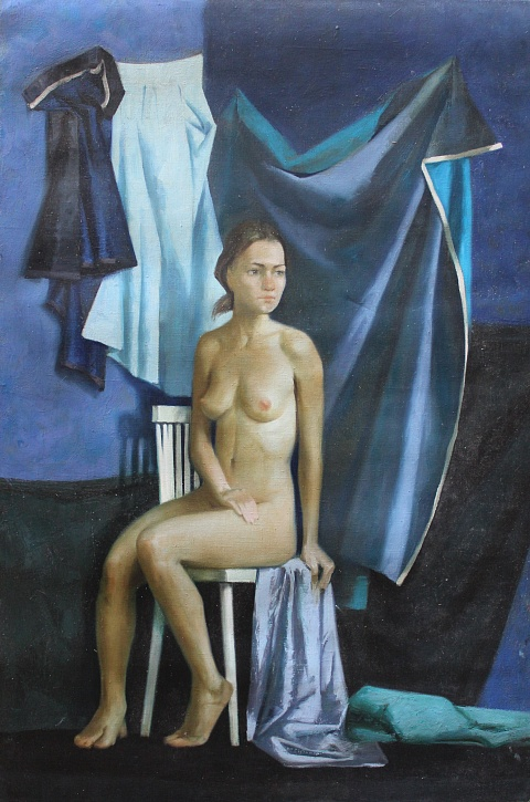 Nude on a blue