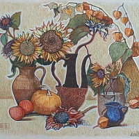 Large Still Life painting with Sunflowers