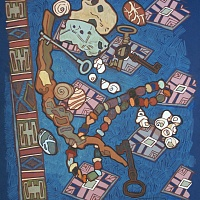 Keys, stones and other on blue