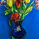 Tulips in blue vase
