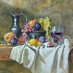 still life on a white drapery