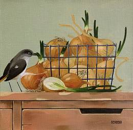 Rustic still life. Bow and bird