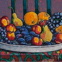 still life with bright fruit