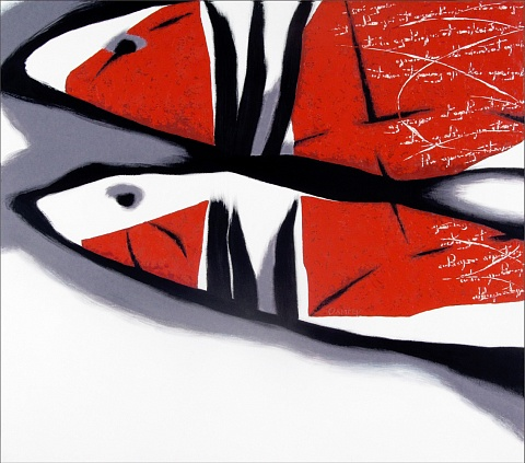 Letters on the red fish