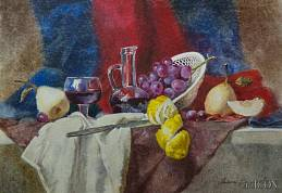 Still life with a red drapery