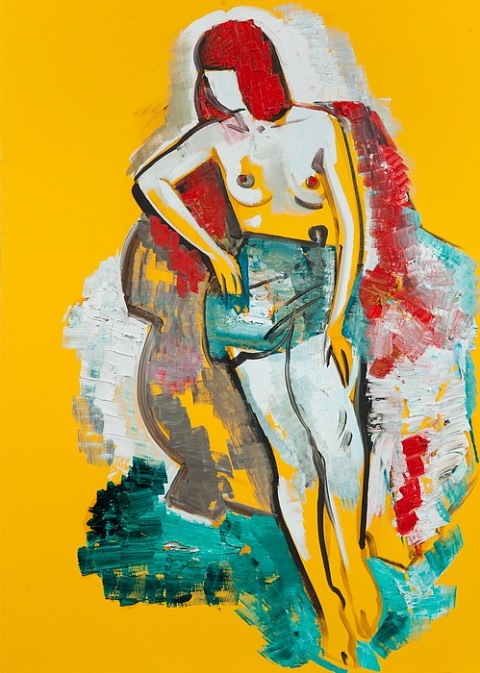Nude on a yellow background