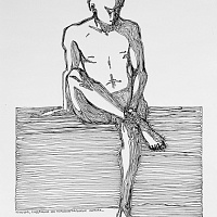 Young man sitting on horizontal lines  (from Trace of action series)