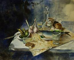 still life with herring and damask