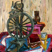 Still life with spinning wheel