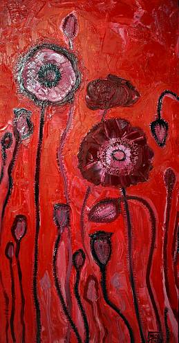 Poppies on a light background