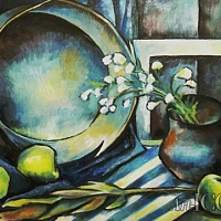 blue still life with apples
