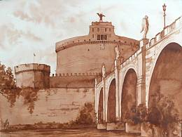 """Views of Rome "" . Castle Sant'Angelo"