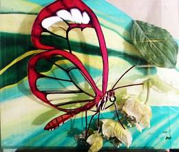 Series glass. Butterfly on flower