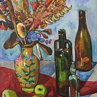 still life with bottles and flowers