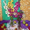 Large still life with gladioli and asters